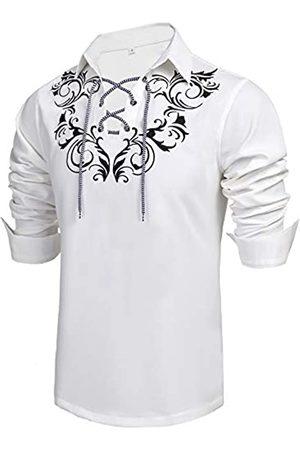 Daupanzees Daupanzees Herren Schottisches Jacobit Ghillie Kilt Shirt Casual Langarm Shirt - Wei� - Mittel