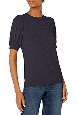 Daily Ritual Rayon Spandex Wide Rib Puff Sleeve Top Hemd
