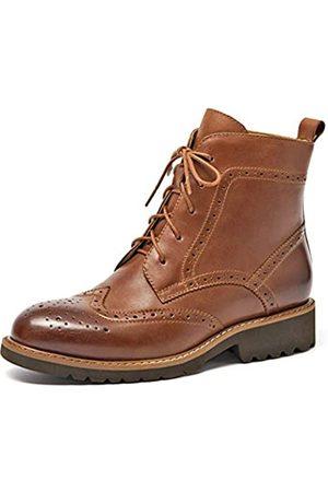 BEAU TODAY Brogue-Stiefel für Damen, Lederschuhe, knöchelhoch, poliert, Flügelspitzen