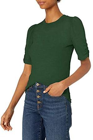 Daily Ritual Rayon Spandex Fine Rib Gathered-Sleeve Mock Neck Top Shirts