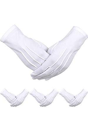 Sumind 4 Paar Erwachsene Uniform Handschuhe Spandex Handschuhe Kleid Handschuh für Mann Polizei Formal Smoking Parade Kostüm (Weiß C)