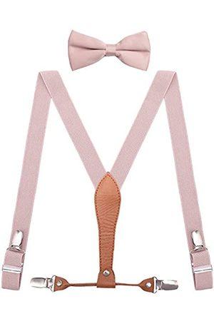 WDSKY Herren Kinder Hosenträger und Fliege elastisch mit Leder Y-Rücken - Pink - 119 cm Erwachsene