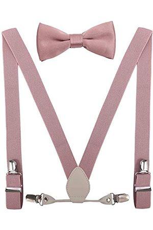 YJDS Herren Jungen Leder Hosenträger und Fliege Set elastisch für Hochzeit - Pink - 99 cm/8-15 Jahre