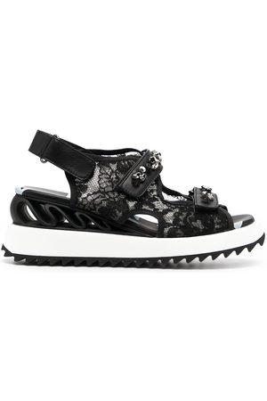 LE SILLA Lace-embroidered crystal-detail sandals