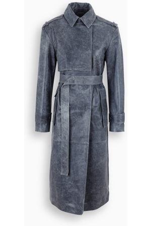 REMAIN Birger Christensen Grey leather Pirello trench coat