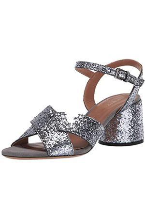 Emporio Armani Damen Metallic Low Block Heel Sandalen mit Absatz