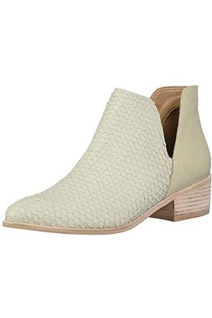 KAANAS Damen Open Flat Ankle Bootie Boot Stiefelette, Elfenbein-Como