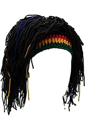 Kirmoo Lustige Perücke Bart Hüte Handgemachte Strickmütze Rasta Hut mit Dreadlocks Weihnachten Halloween Caps - Schwarz - Einheitsgröße