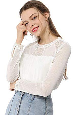 Allegra K Damen Langarm Crew Neck Panel Spitze Blumen Top Bluse XL