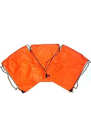 TheAwristocrat 3 Stück Nylon Kordelzug Rucksäcke Sackpack Tote Cinch Gym Bag – verschiedene Farben (Orange) - TA-DSB-ORNG-R-CA