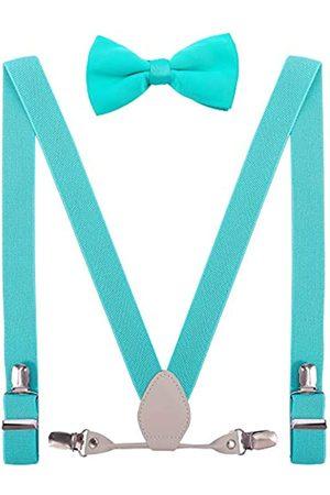 YJDS Herren Jungen Leder Hosenträger und Fliege Set elastisch für Hochzeit - - Erwachsene (119 cm)