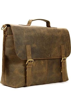 Leftover Studio Leder Laptop Aktentasche Messenger Bag Herren Umhängetasche Büro Tasche in rustikaler Look Kuhleder (Braun) - SM-OP-BR-15