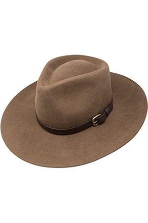 Borges & Scott B&S Premium Lewis - Fedora Hut mit breiter Krempe - 100% Wollfilz - wasserfest - Lederband - 60cm
