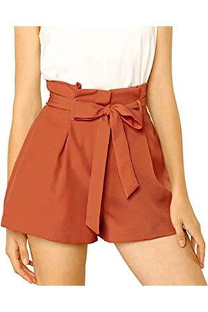 Allegra K Allegra K Damen A Linie High Waist Bindegürtel Paperbag Kurze Hose Shorts L