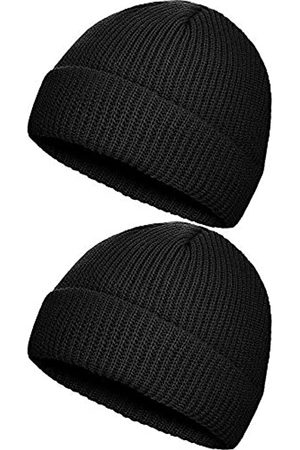 SATINIOR 2 Stücke Winter Warme Mütze Hut Strickmanschette Beanie Hüte für Männer Tägliches Tragen (Schwarz)