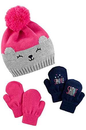 Simple Joys by Carter's Hat Hat and Mitten Set Cold Weather Hat Hat, Pink/Grey Bear