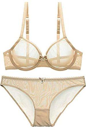DHX Damen Sheer Mesh BH Panty Set Durchsichtig Dessous Ungefüttert Sheer Sexy Spitze Transparent Pyjama Nicht Gepolstert - - 100C+XXX-Large