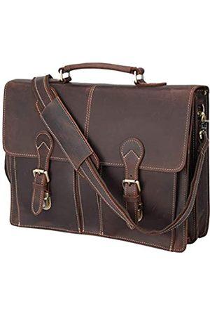 POLARE ORIGINAL Polare 16 Zoll Vollnarbenleder Messenger Bag Laptop Aktentasche Tasche Arbeitstasche Schultasche für Herren