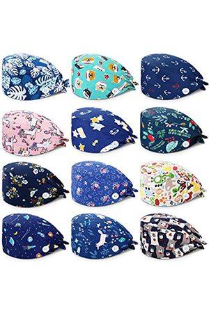 SATINIOR 12 Stücke Unisex Füllig Kappe mit Knöpfen Bunt Bedruckte Zurückbinden Kappe mit Schweißband für Frauen Männer
