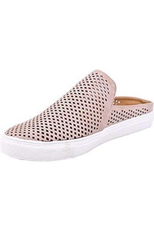 Coutgo Coutgo Damen Loafer, perforiert, Plateau, Slipper, modische Sneakers, rückenfrei, Flache Wanderschuhe, Pink (Rose)