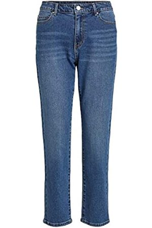 Vila Vila Female Straight Fit Jeans Cropped 34Medium Blue Denim