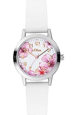s.Oliver S.Oliver Mädchen Analog Quarz Uhr mit Silicone Armband SO-4076-PQ