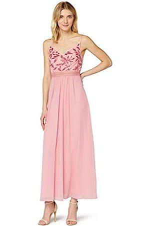 TRUTH & FABLE Amazon-Marke: Damen Maxikleid aus Chiffon, Pink (Blush Leaf Pailletten/Perlen), 46