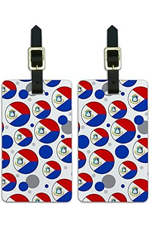 Graphics and More Graphics & More O-Sint Maarts Nationalflagge (Weiß) - Luggage.Tags.09686