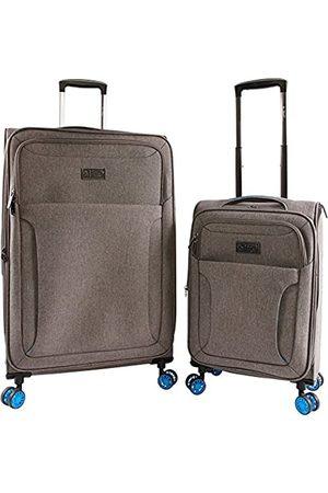 Original Penguin ORIGINAL PENGUIN Luggage Platt 2 Piece Set Expandable Suitcase with Spinner Wheels, Grey Crosshatch/Blue