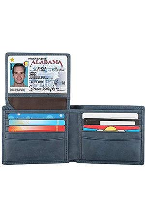 Lavemi RFID-blockierende Geldbörse aus Rindsleder für Herren mit 2 ID-Fenstern - Blau - Einheitsgröße