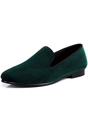 Harpelunde Herren Samt-Hausschuhe, einfarbig, handgefertigt, Slipper, Loafer, Gr�n (grün)