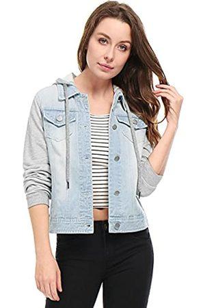 Allegra K Damen Jacken - Damen Langarm Button Panel Kapuze Jeansjacke Jacke XL