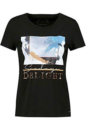 Taifun Damen T-Shirt mit Front-Print aus Bio-Baumwolle figurumspielend 38