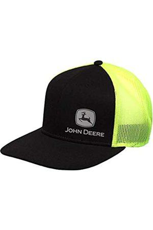 John Deere Tractors Men's Grey Off-Centered Logo Snapback Hat, Black and Hi Vis Yellow, Black/Hi Vis Yellow