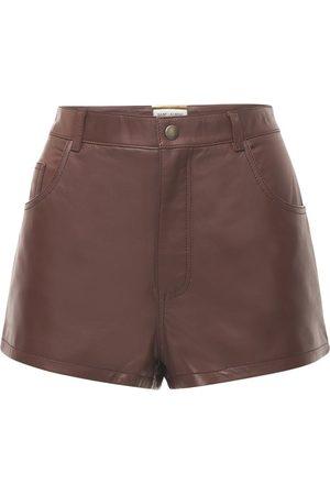 Saint Laurent Leder Mini Shorts