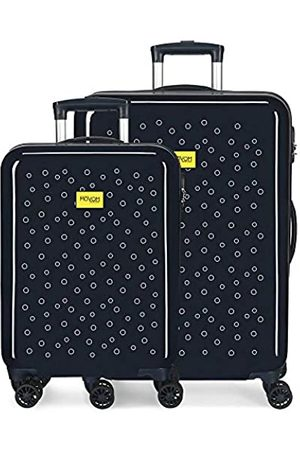 MOVOM Enso Bubbles Kofferset Blau 55/68 cms Hartschalen ABS Kombinationsschloss 104L 4 Doppelräder Handgepäck