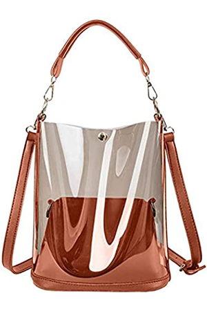 KOOIJNKO Halbklare PVC-Handtaschen, Gelee, transparent, für den Strand, Schultertasche, 2-in-1-Tasche, Pink (rose)