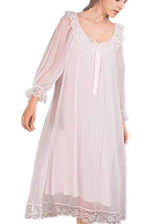 Singingqueen Damen viktorianisches Nachthemd lang durchscheinend Vintage Nachthemd Spitze Lounge Nachtwäsche Mesh Baumwolle Pyjama - - Medium