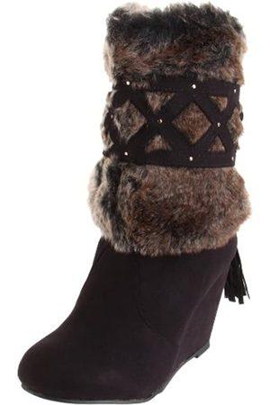 Not Rated Not Rated Damen Stiefel mit Keilabsatz aus Kunstfell (schwarz)