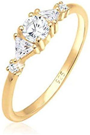 Elli Elli PREMIUM Ring Damen Triangle Funkelnd mit Zirkonia Kristallen in 925 Sterling Silber
