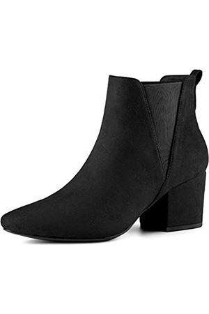Allegra K Damen Pointed Toe Blockabsatz Slip On Chelsea Ankle Boots Stiefel 41
