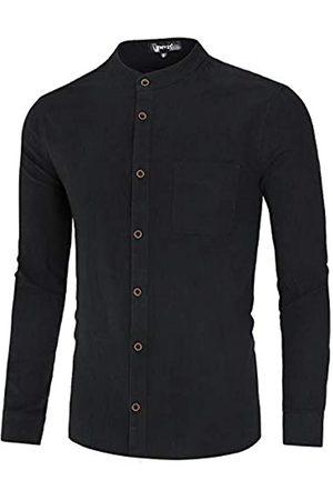 TATT 21 TATT 21 Herren Langarm Stehkragen Gewaschener Button Hemd Shirt XL