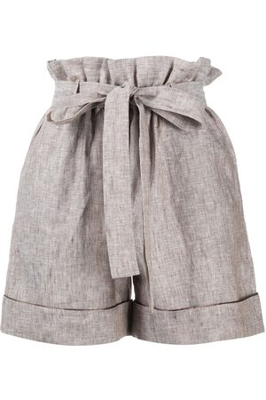 12 STOREEZ Shorts mit Paperbag-Taille - Nude