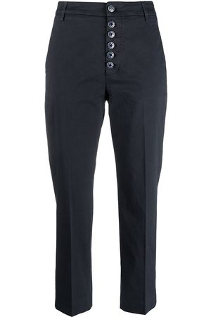 Dondup Damen Chinos - Painted button cropped chinos