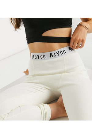 AsYou – Gerippte Lounge-Leggings in Buttermilch mit Logo