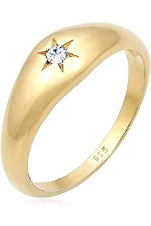 Elli Elli Ring Elli Damen Ring Siegelring Stern Swarovski Kristalle in 925 Sterling Silber Vergoldet
