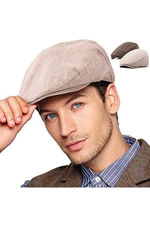 LADYBRO 2er-Pack Newsboy Hüte für Herren S/M/L/XL flache Kappe Herren Irish Cabbie Gatsby Tweed Ivy - - 56/59 cm