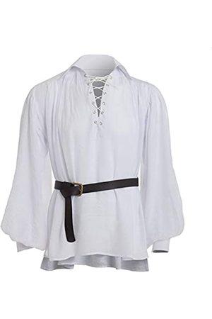 GRACEART Mittelalter Victorian Piraten-Hemd Elegant Langarmshirt Gothic Steampunk Männerhemd (