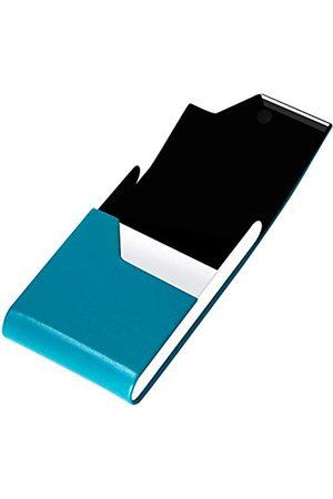 padike Padike Professioneller Visitenkartenhalter Visitenkartenetui Luxus PU Leder & Edelstahl Kartenhalter Kreditkartenetui Halten Visitenkarten in makellosem Zustand (V-Blue Green)