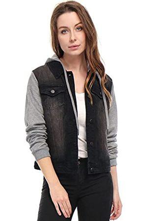 Allegra K Damen Jacken - Damen Langarm Button Panel Kapuze Jeansjacke Jacke M